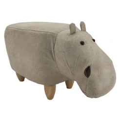 Faux Leather / Suede Hippo Footstool - Cream