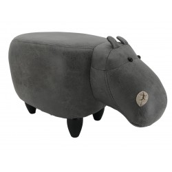 Faux Leather / Suede Hippo Footstool - Grey