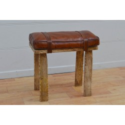 Wooden Stool / Bench with Leather Cushioned Seat