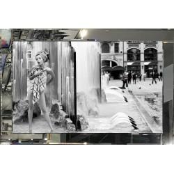 Lady Shower Scene in Mirror Glass Frame 80cm x 120cm
