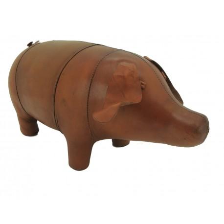Large Handmade Leather Pig Footstool