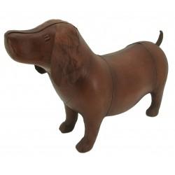 Large Handmade Leather Dog Footstool