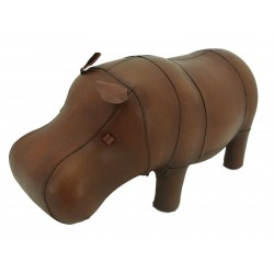 Small Handmade Leather Hippo Footstool