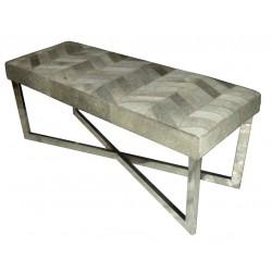 Chevron Grey Stripes Cowhide Leather bench