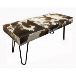 Tan & White Cowhide Bench - Iron Legs