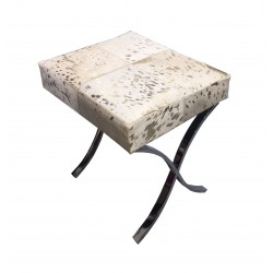 White & Gold Cowhide Stool / Seat - Stainless Steel Legs