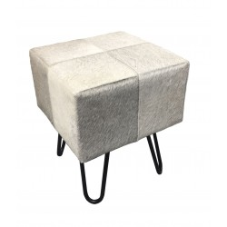 Grey Cowhide Stool / Seat - Iron Legs