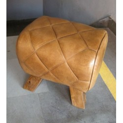 Genuine Quilted Leather Stool Pommel Horse Style