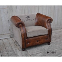 Polo Horse Print Leather & Canvas Vintage Style Armchair