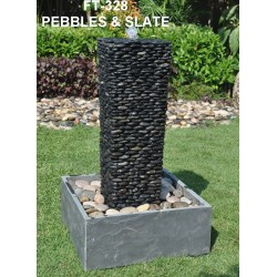 Slate Fountain with Pebbles Column / Water Feature - 80cm High