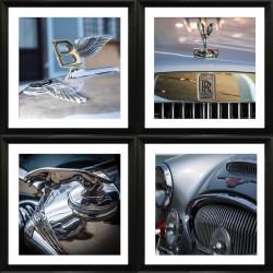 Set of 4 Car Mascots Framed Wall Art - 60cm x 60cm