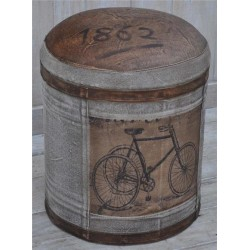 Bicycle Print leather & canvas stool / pouffe / footstool