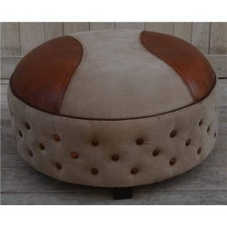 Large Leather & Canvas Round Ottoman / Stool / Footstool / Sidestool