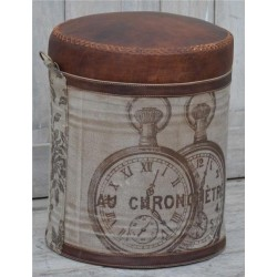 Pocket Watch Print Leather & Canvas Stool / Pouffe / Footstool