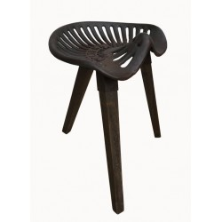 Iron Stool with Wooden Legs