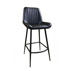 Black Leather Dining Barstool - Iron Legs