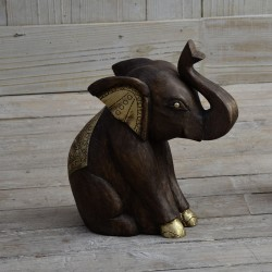 Wooden Elephant Figure